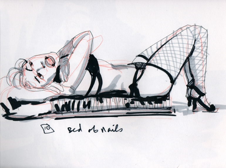 Dixie Delish, 10 Min Drawing, posing on a bed of nails!