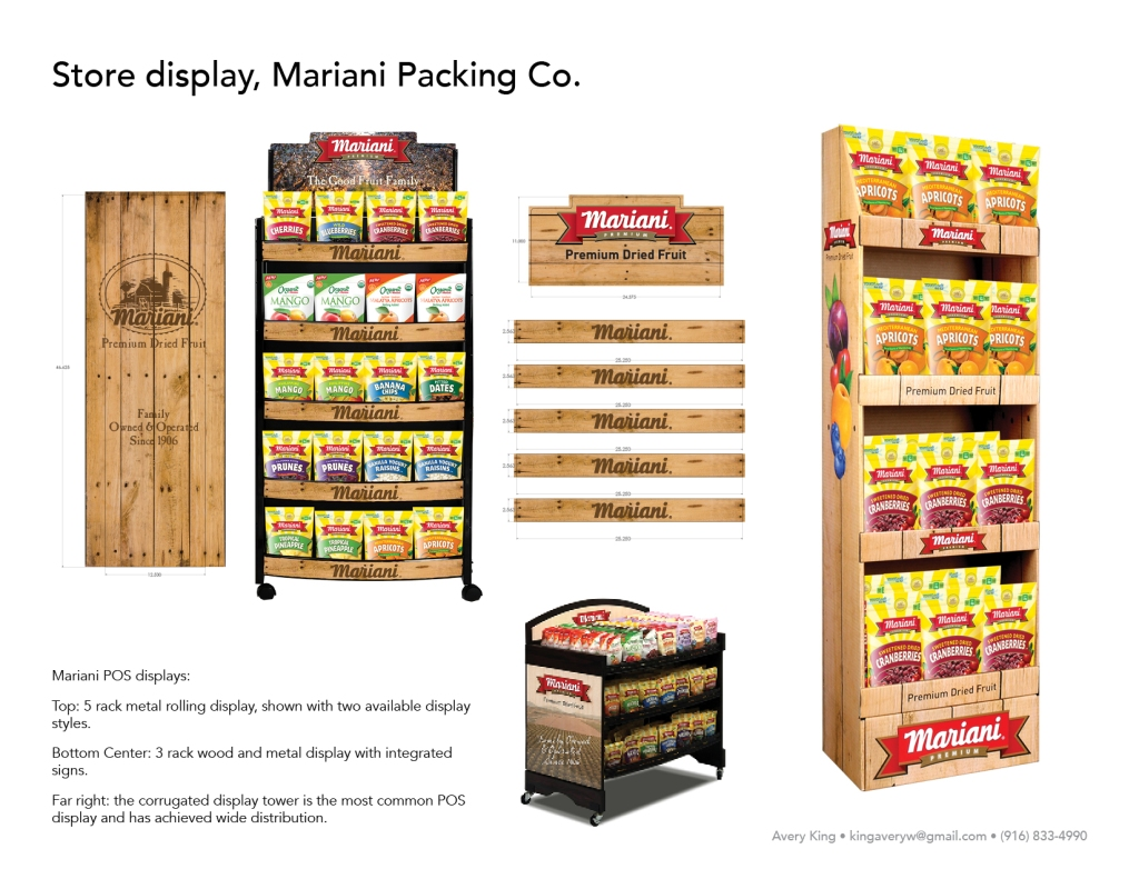 Mariani POS displays: Top: 5 rack metal rolling display, shown with two available display styles. Bottom Center: 3 rack wood and metal display with integrated signs. Far right: the corrugated display tower is the most common POS display and has achieved wide distribution.